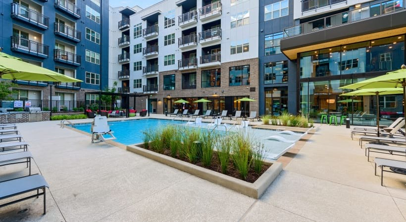 Resort style pool at apartments in Durham, NC