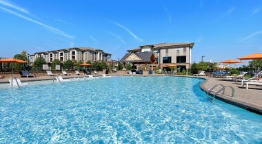 Resort-style pool at our apartments in Huntersville, NC