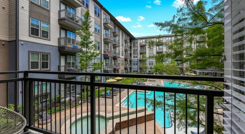 Apartment balcony at apartments for rent in Oak Lawn