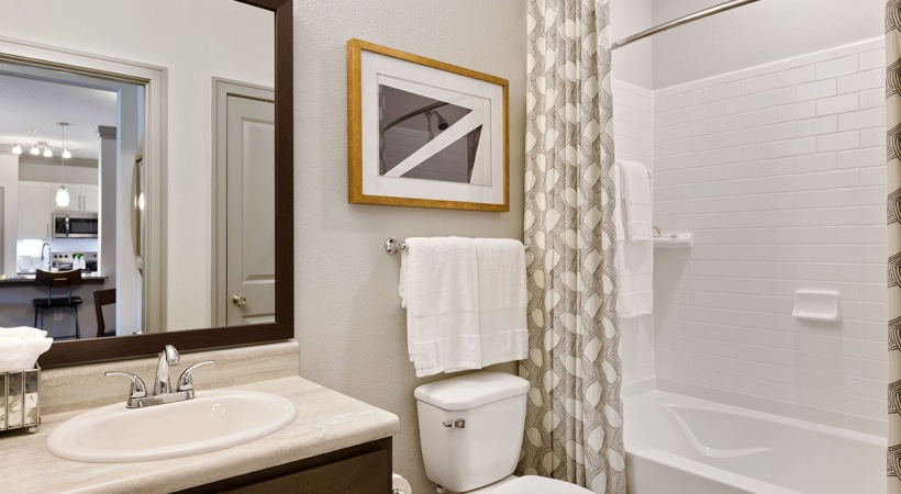 Apartment bathroom at our upscale Huntersville apartments