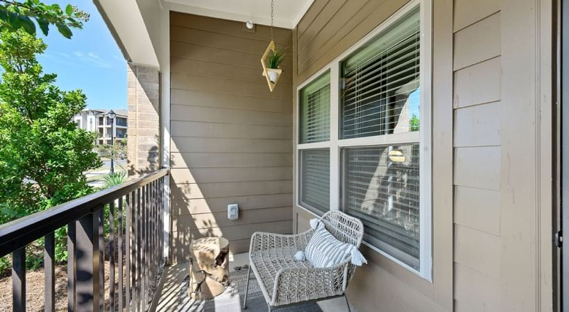 Personal apartment balcony at Cortland Huntersville