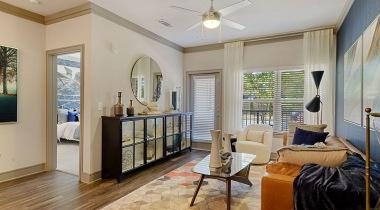 Luxury apartment living room at Cortland Huntersville