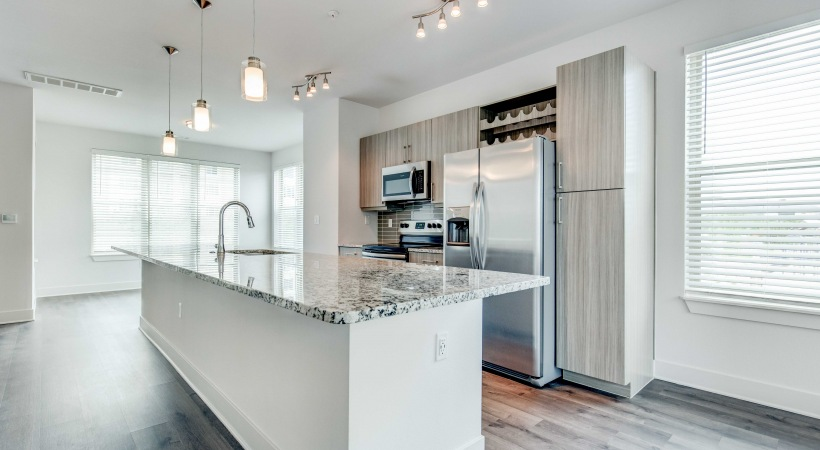 Kitchen with wide windows at our Broomfield apartments for rent