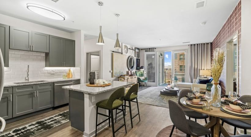 Custom Cabinetry with Designer Hardware at Our Luxury Apartments in Luxury District