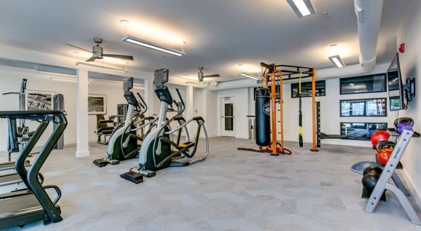 24/7 gym at our luxury apartments near Centennial, CO