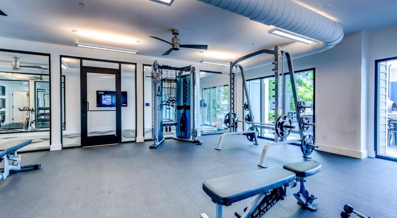 24/7 gym at our apartments near Parker, CO