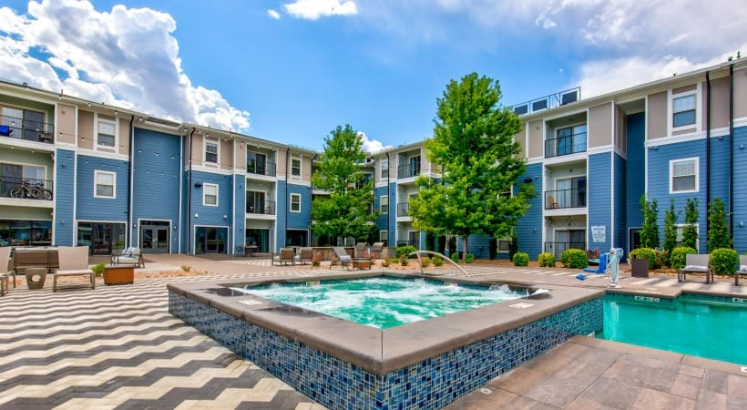 Resort-style pool and spa at our modern apartments near Centennial, CO