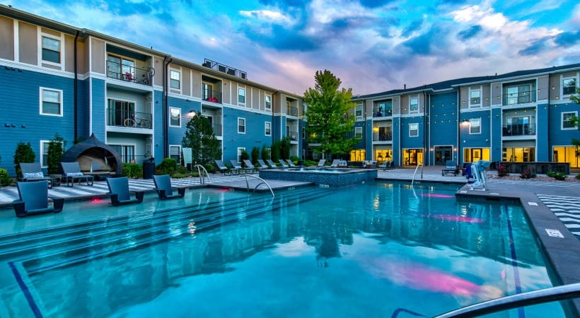 Pool and sun deck at our modern apartments near Centennial, CO