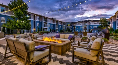 Resort-style pool and fire pit at our upscale apartments near Denver