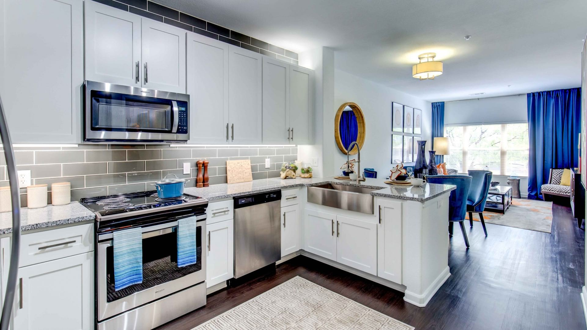 Kitchen with designer features at our apartments in Lone Tree