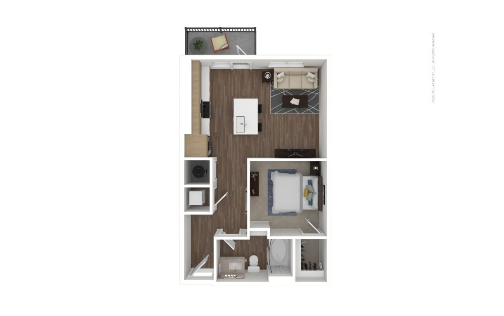 A1 Single 1 bedroom 1 bath 619 square feet