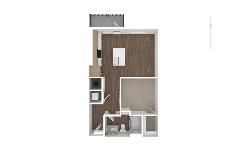 A1 Single 1 bedroom 1 bath 619 square feet (1)