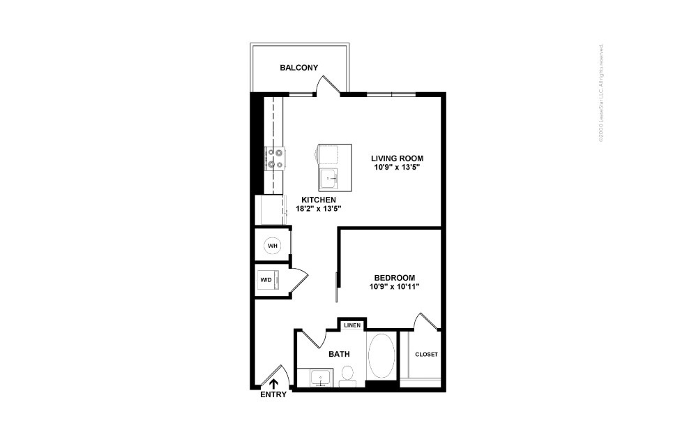 A1 Single 1 bedroom 1 bath 619 square feet (2)