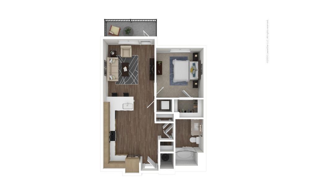 A3 East 1 bedroom 1 bath 633 square feet