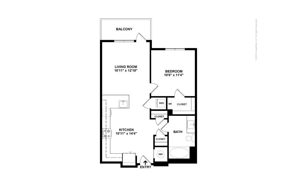 A3 East 1 bedroom 1 bath 633 square feet (2)