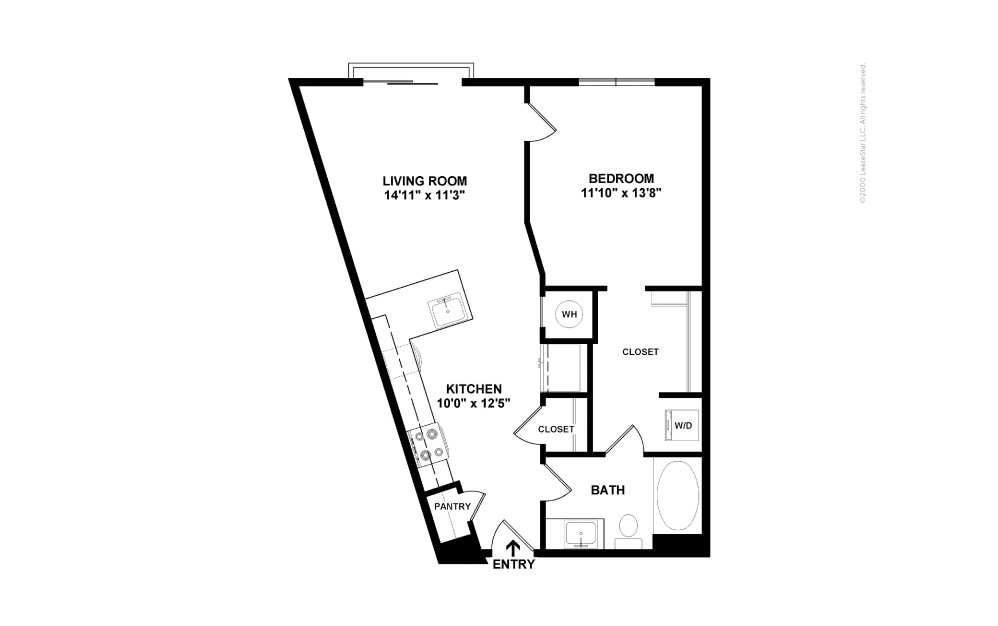 A5 National 1 bedroom 1 bath 709 square feet (2)
