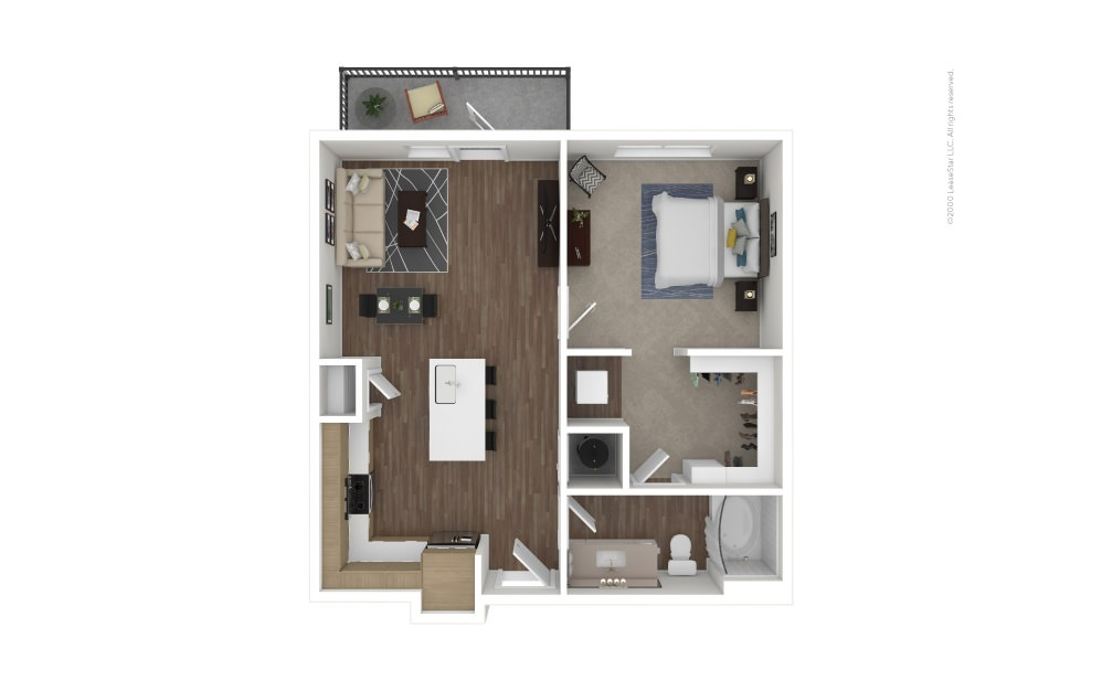 A7 Show 1 bedroom 1 bath 720 square feet