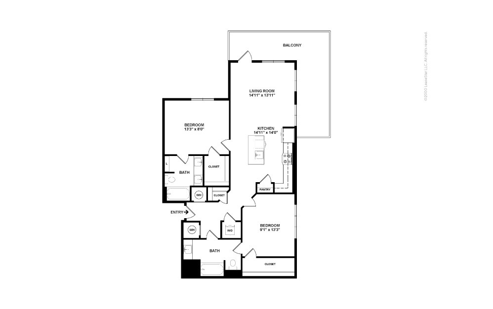 A14 Pennant 2 bedroom 2 bath 1218 square feet (2)