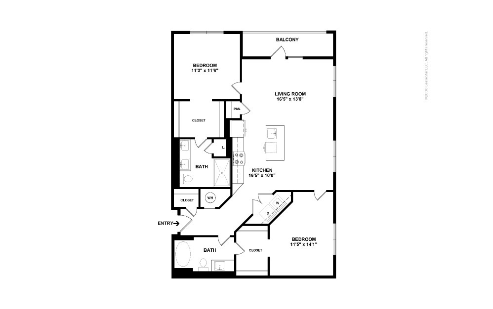 B9 Double Play 2 bedroom 2 bath 1150 square feet (2)