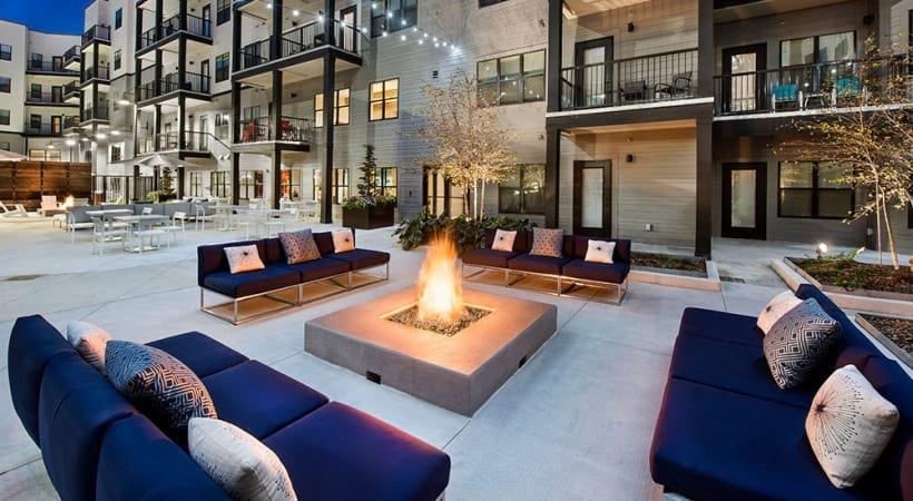 Outdoor lounge at Cortland at the Battery Atlanta
