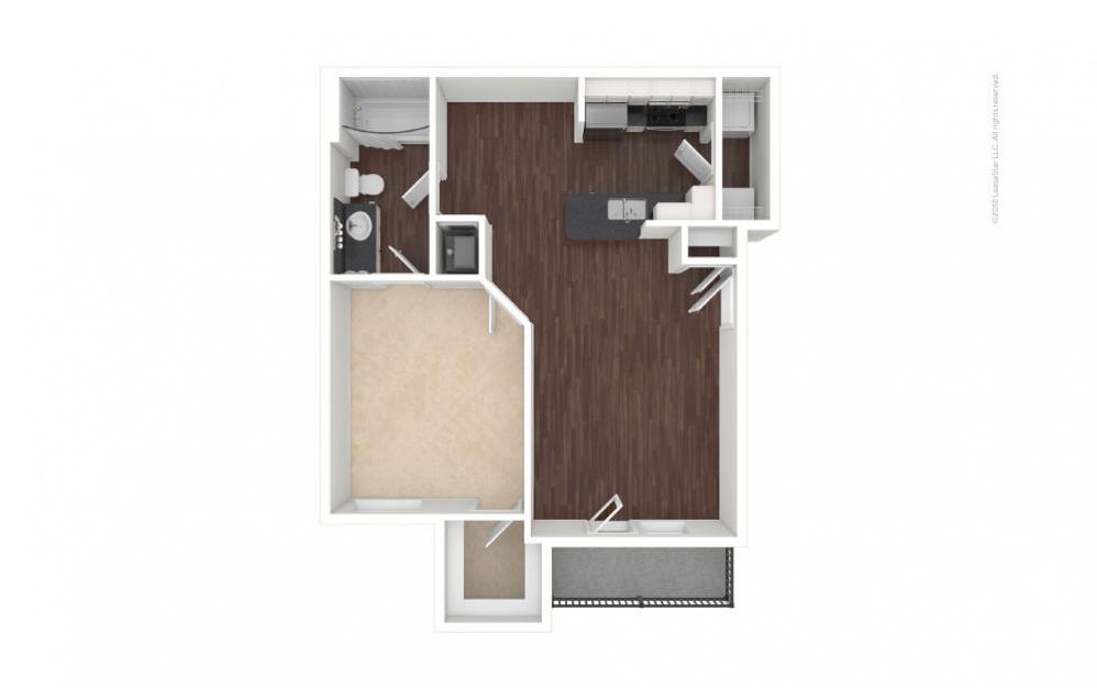 A1 - Clara 1 bedroom 1 bath 689 square feet (1)