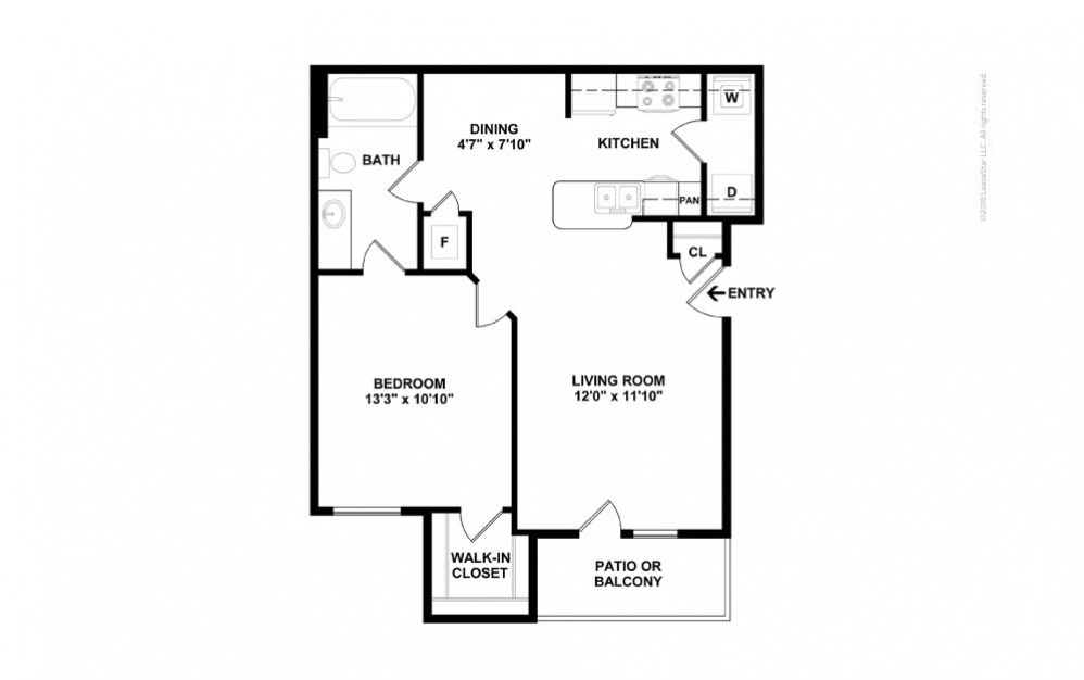 A1 - Clara 1 bedroom 1 bath 689 square feet (2)