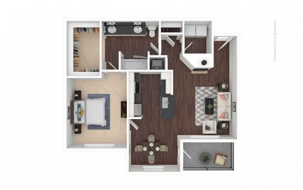 A4 - Gabriella 1 bedroom 1 bath 832 square feet