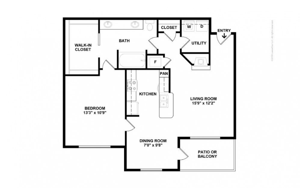 A4 - Gabriella 1 bedroom 1 bath 832 square feet (2)