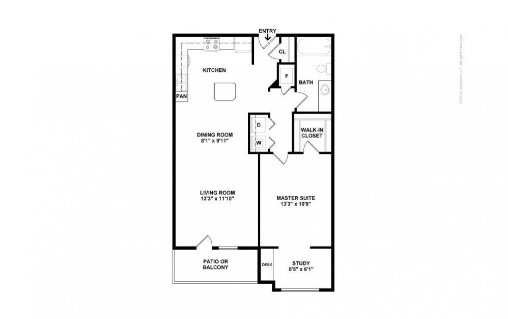 A3 - Lauren 1 bedroom 1 bath 826 square feet (2)