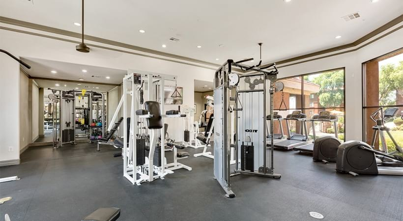 Our Papago Park apartment gym with spin studio