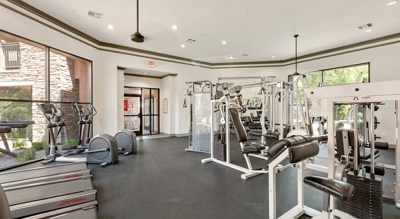 Our Papago apartment gym with updated equipment