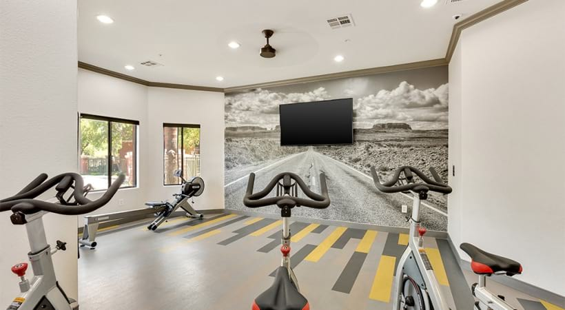 Our Cortland Red Mountain apartment gym with yoga/spin studio