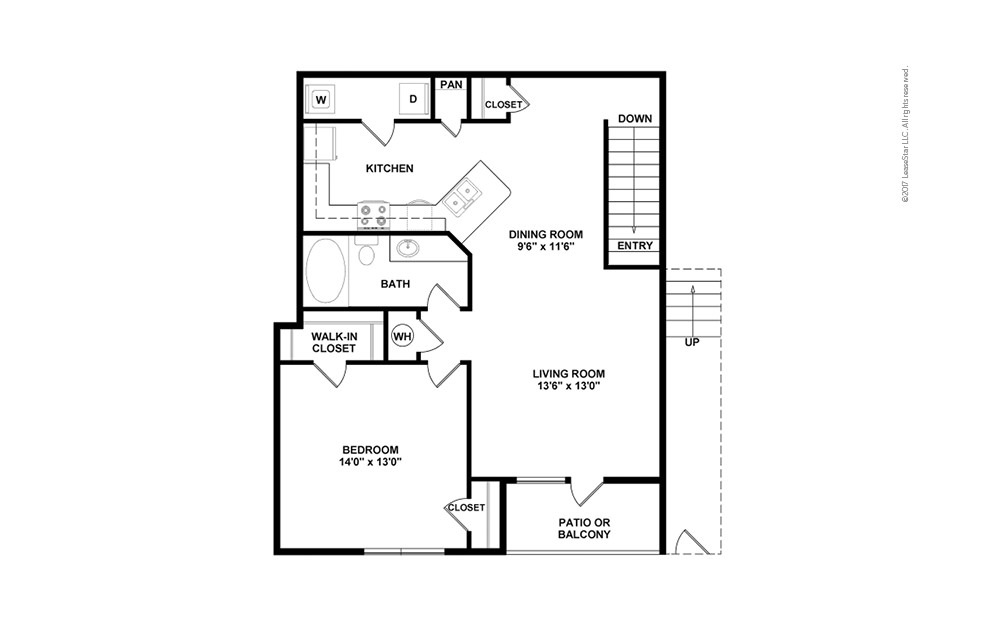A2 1 bedroom 1 bath 951 square feet (2)