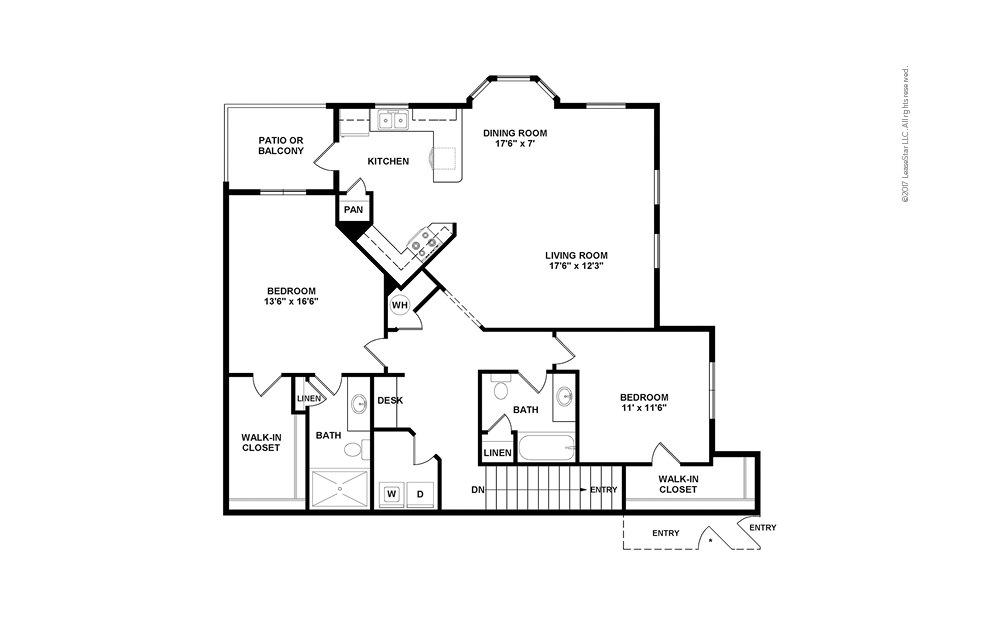 B3A 2 bedroom 2 bath 1436 square feet (2)