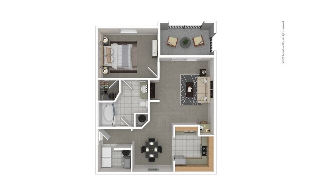 A1 1 bedroom 1 bath 820 square feet