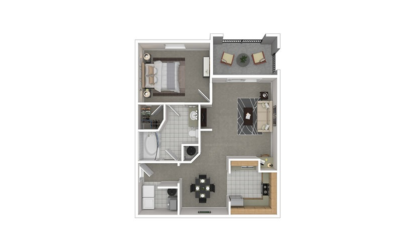 A2 1 bedroom 1 bath 821 square feet