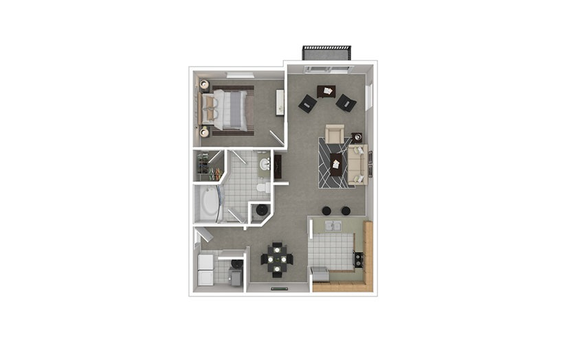 A3 1 bedroom 1 bath 916 square feet