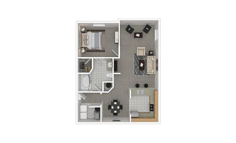 A4 1 bedroom 1 bath 950 square feet