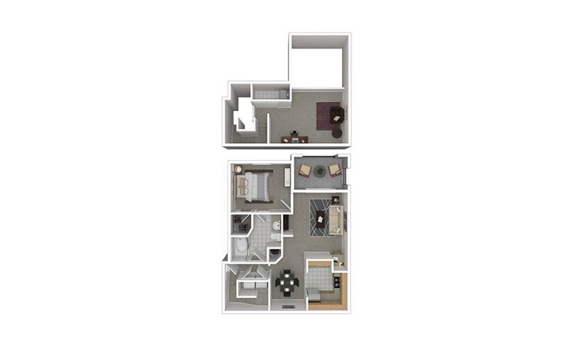 A5 1 bedroom 1 bath 1038 square feet