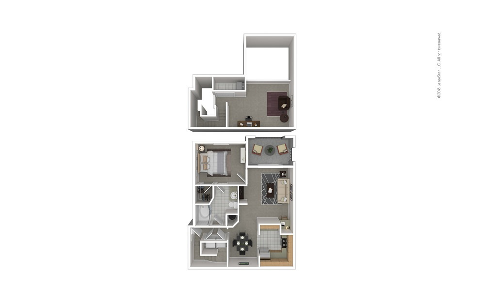 A5 1 bedroom 1 bath 1038 square feet