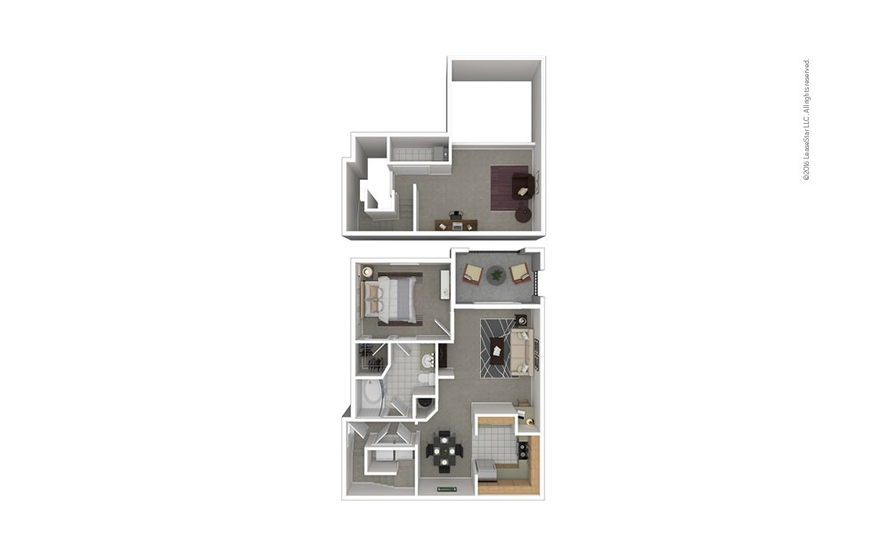 A6 1 bedroom 1 bath 1085 square feet