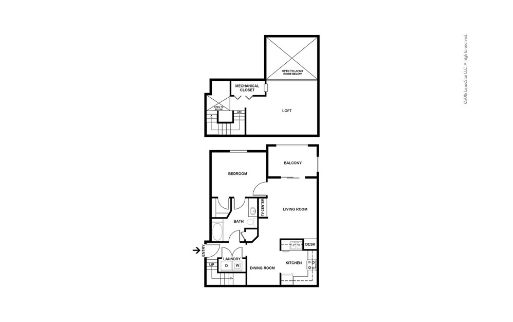 A6 1 bedroom 1 bath 1085 square feet (2)