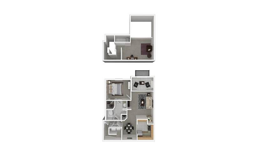 A7 1 bedroom 1 bath 1167 square feet