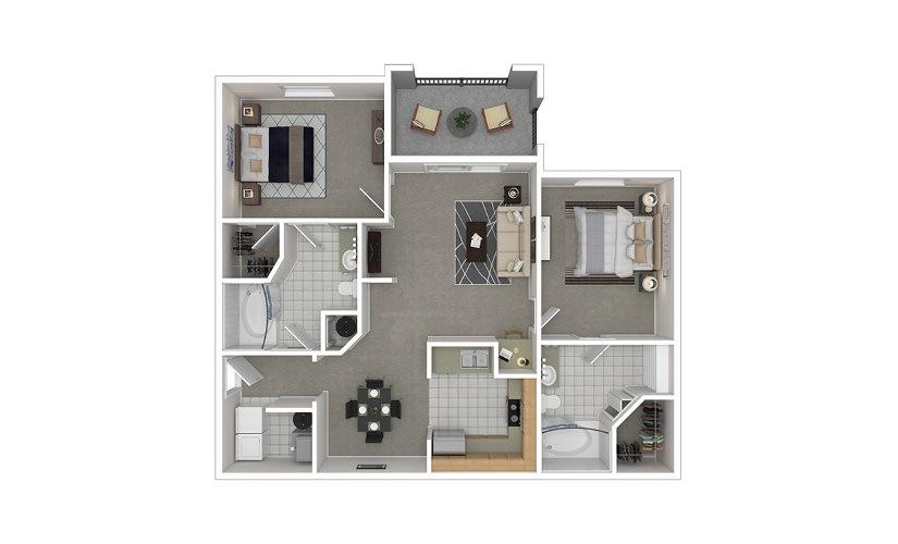 B1 2 bedroom 2 bath 1109 square feet