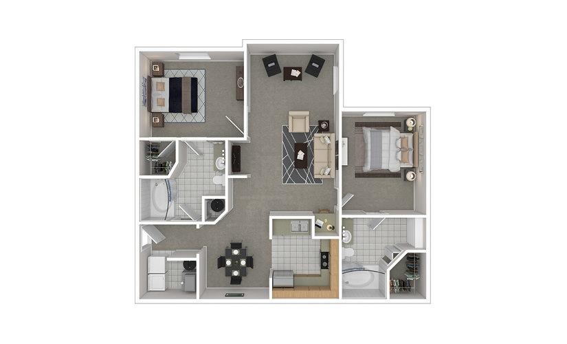 B2 2 bedroom 2 bath 1205 square feet