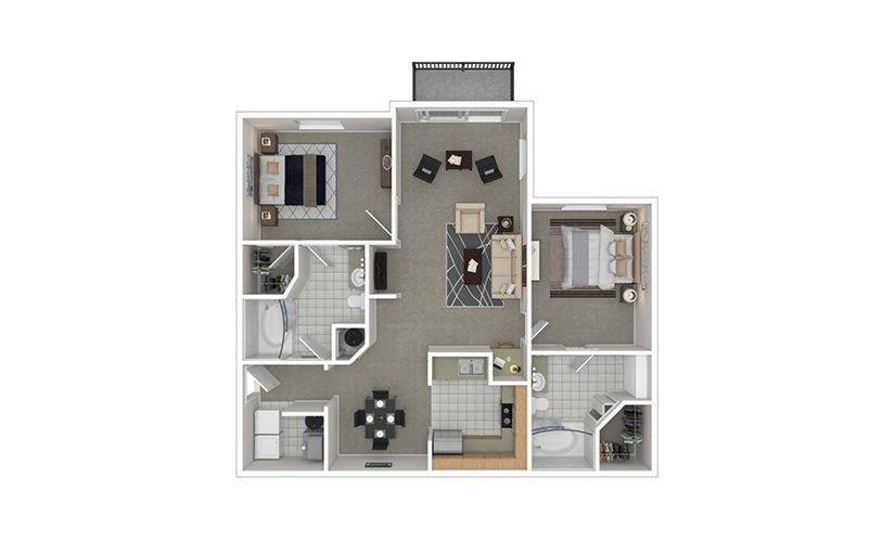 B3 2 bedroom 2 bath 1205 square feet