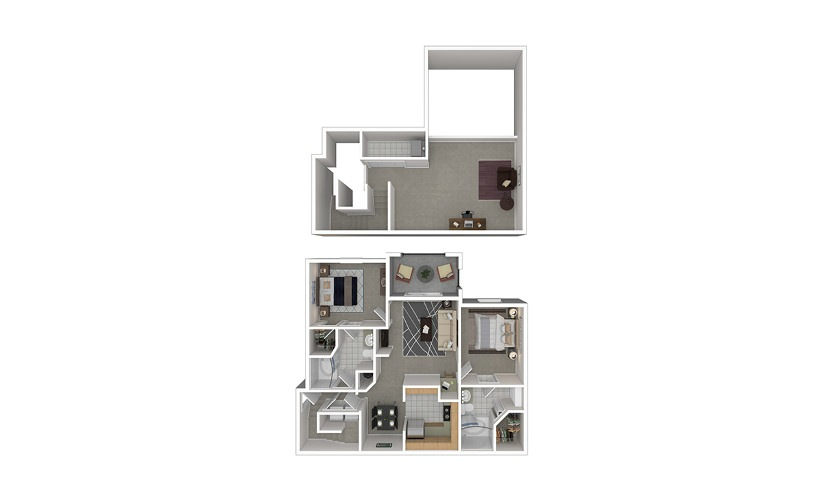 B5 2 bedroom 2 bath 1327 square feet