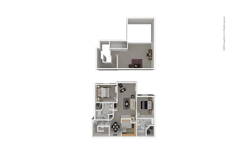 B7 2 bedroom 2 bath 1456 square feet