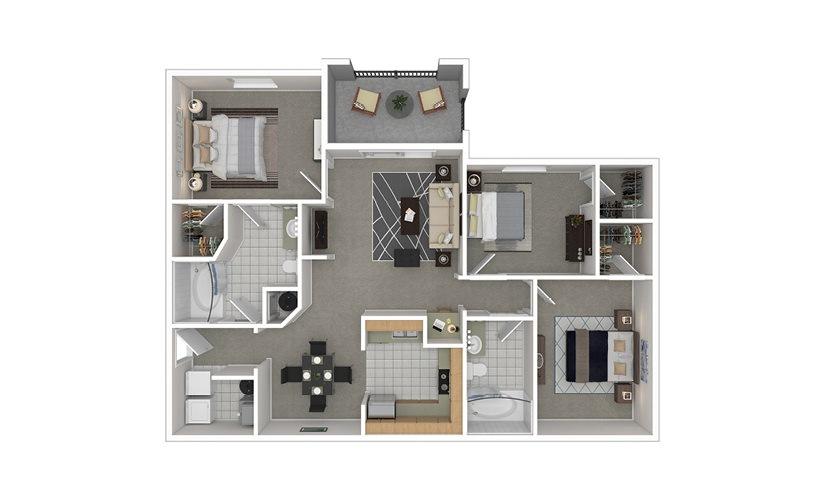 C1 3 bedroom 2 bath 1278 square feet