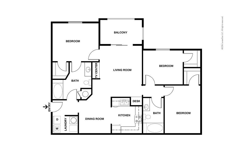 C1 3 bedroom 2 bath 1278 square feet (2)